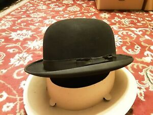 Vintage 1900s John B. Stetson Mens Black Flexible Conforming Bowler Hat