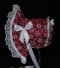 New Handmade Red with White Snowflakes Christmas Baby Bonnet