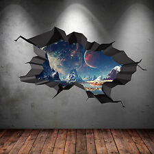 3D FULL COLOUR SPACE WORLD UNIVERSE GALAXY PLANET CRACKED WALL STICKER WSD87