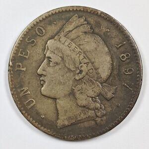 1897 Dominican Republic Silver Un Pero 186885B