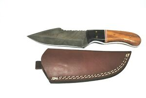 """9"""" Hand Crafted & Forged KK13 Damascus Fixed Blade Knife, Leather Sheath"""