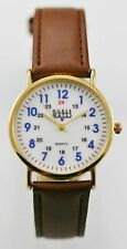 Nurse Mates Unisex Watch 24hr Gold Stainless Water Re Leather Brown White Quartz