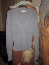 Calvin Klein Blue/Grey Cashmere Low V neck Jumper - Size S