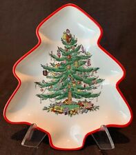 "Spode Christmas Tree Red Rim Tree Shaped Plate 7 1/2"" L Candy Nut Dish England"