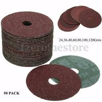 50pcs 100/115mm Fibre Sanding Grinding Discs Wheels 24-120Grit For Angle Grinder