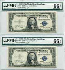 1935G No Motto Silver Certificate $1 Consecutive Pair - Fr.1616 - PMG 66 EPQ