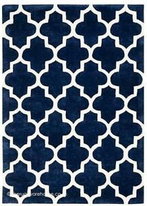 Rug 80 x 150cm Arabesque Wool Blend Blue NEW (B1)