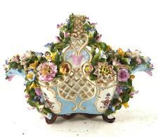 Fino Antiguo Dresden Continental Floral Con Incrustaciones Cesta Flores un