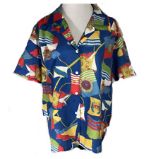 Fritz And Lloyd On Down Blouse Bright Nautical Theme Size 14