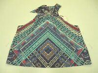 new BISOU BISOU T6966 Women's Size M Sleeveless Halter Neck Mosaic Print Blouse