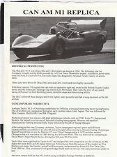 Autotune Ltd M1 Racer Kit Car McLaren Can-Am folleto de ventas Prospekt hoja de especificaciones