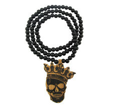 "WOODEN KING SKULL PENDANT PIECE w/ 36"" CHAIN NECKLACE GOOD WOOD CROWN HIP HOP"