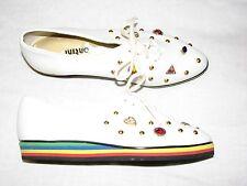 6 Narrow Shoes Montini Rainbow sole Jewelled Rhinestones Heart Stud White tennis