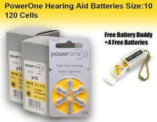 120 PowerOne Hearing aid Batteries Size 10 + Free Keychain/4 Extra Batteries