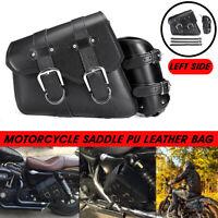 Left Motorcycle Side Saddle Bag Saddlebag Pannier Luggage Storage PU Leather