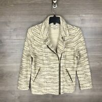 Lucky Brand Women's Size Small Zip Up Tweed Jacket Beige Cream Zip Pockets
