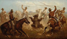 """perfact 36x24 oil painting handpainted on canvas"""" Cowboys Roping a Bear """"@3177"""