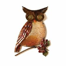 Cape Craftsmen, Shaped Owl Sculpted Metal and Glass Wall Hanging & Garden Décor