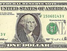 UNC 1995 $1 DOLLAR BILL MISALIGNED OVERPRINT ERROR FED NOTE CURRENCY PAPER MONEY