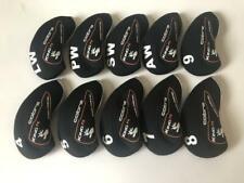 10Pcs Golf Club Headcovers for Cobra King F6 Iron Covers Caps 4-Lw Black&Black