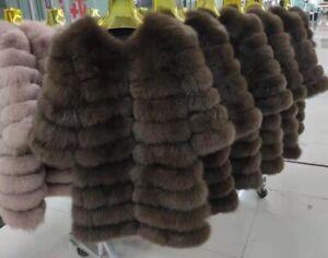 On sale Fur Coats Real Fox Fur Coat Winter Luxury Fur Jacket Horizontal row