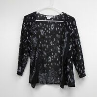 Alberto Makali Womens Blouse Top Black Floral Long Sleeve  Open Front Size L