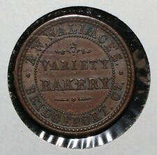 1863 A.W. Wallace's Variety Bakery Bridgeport Ct Civil War Token - 03965