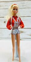 "MATTEL BARBIE Doll Short Overalls Jacket Outfit Blonde Hair Blue Eyes 12"" Tall"