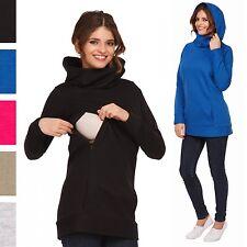 Happy Mama Women's Maternity Nursing Hoodie Top Sweatshirt Kangaroo Pocket. 053p