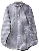 Tasso Elba Mens Blue White Purple Check Long Sleeve Dress Shirt Size 16.5 34/35