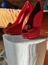 Red suede high heels pumps with skull Alexander McQueen authentic 38