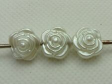 100 Ivory Acrylic Faux Pearl Rose Flower Beads 12mm Spacer Imitation Pearl