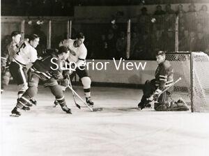 Detroit Red Wings Gordie Howe & Ted Lindsey Scoring On Gump Worsely Olympia LOOK