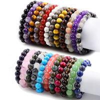 Natural Stone Bracelet 6/8/10mm Round Beads Stretchy Bangle Multi-Style US Stock