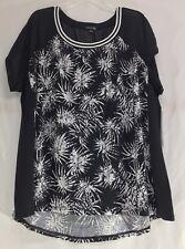 Women's Plus Moda Black & White Cap Sleeve Top w/ Palm Leaf Print, Size 4X, NWT