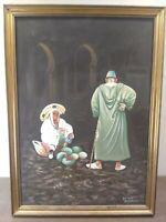 Rachid Errzieq Textured Frame Print- Arabic Market Street Scene Modern Painting