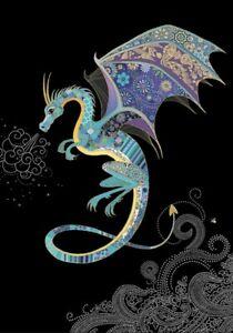 Blue Dragon Embossed Jewel Effect Blank Greetings Card Birthday etc M159