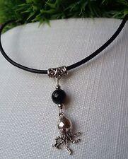 Oktopus Kraken Halskette Echt Leder Kette mit Achat Perle Krake Silber Geschenk