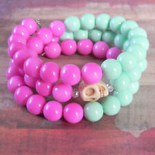 Fun Skull Wraparound Bracelet with Hot Pink and Mint Green Beads