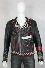 vintage leather punk jacket XL studded painted motorcycle 80's 90's black