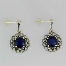 STERLING SILVER MARCASITE AND SAPPHIRE DROP EARRINGS