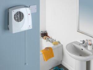 Bathroom Heater Downflow Wall Mounted Kitchen Fan Heater 2kW Pull cord IP22