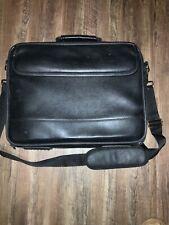 Black Leather Laptop Cross Body Bag