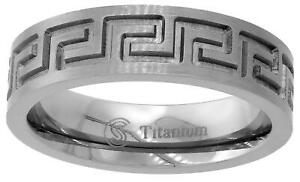 Titanium Ring Men Women Wedding Band 6mm High Polish Greek Key Flat Comfort Fit