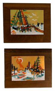2 Vintage JUDITH DANER Mid-Century MCM Copper & Enamel Wall ART Sailboat Plaque