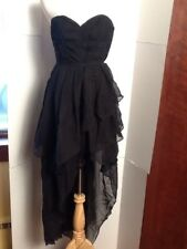 TOV Black Small High Low Corset Lace Up Layers Steampunk Dress New