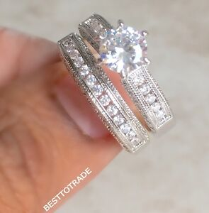 New Boxed Ladies 925 Sterling Silver Plated Cubic Zirconia Rings Set