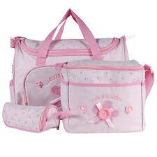 4 tlg. Wickeltasche Pflegetasche Kindertasche Babytasche Baby Kinder Pink