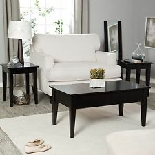 Black 3 Piece Lift-Top Coffee Table Living Room Set Home Accent Furniture Den