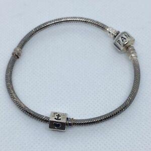 "Authentic Pandora 7"" 925 Bracelet w Religious Cross Anchor Heart Charm 17.5g"